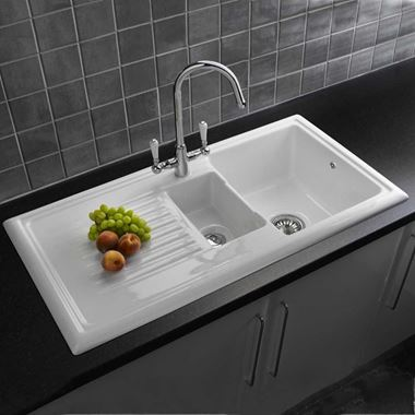 Reginox 1.5 Bowl White Ceramic Kitchen Sink & Waste Kit with Reversible Drainer - 1010 x 525mm